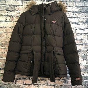 Brown Hollister Puffer Jacket Fur Hoodie / Parka